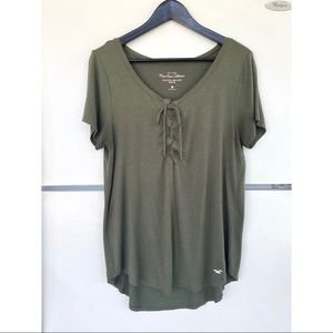 Hollister Olive Must Have Easy Tie-Front T-Shirt